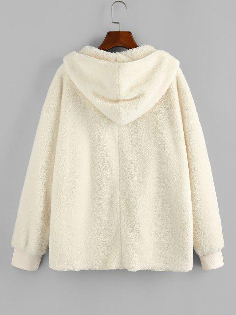 ZAFUL Hooded Faux Fur Open Front Pocket Coat - اللون البيج M Mobile