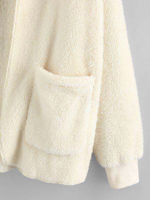 ZAFUL Manteau à Capuche Ouvert en Avant en Fausse Fourrure avec Poche - Beige S Mobile