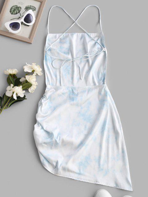 Krawattenfärbende Kreuzes Geraffte Cami Kleid - Hellblau S Mobile