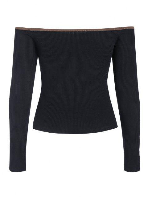 ZAFUL T-shirt de Compressão de Ombro Caído com Contraste de Renda e Nervuras - Preto M Mobile