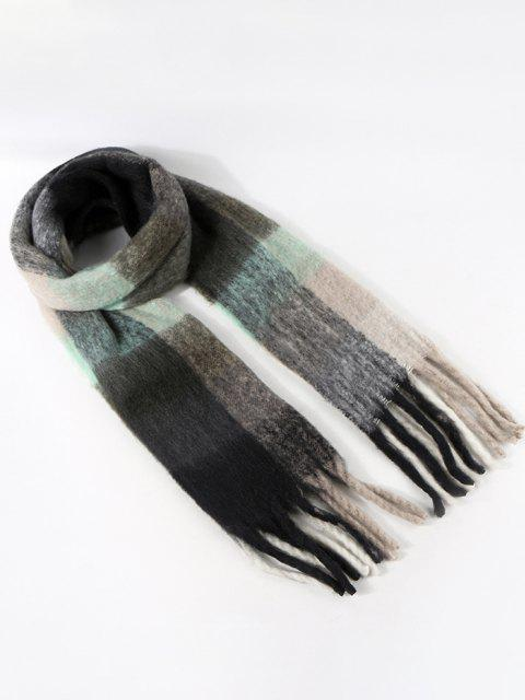 womens Plaid Pattern Fringe Fuzzy Scarf - SLATE GRAY  Mobile