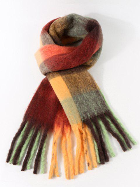 women Plaid Pattern Fringe Fuzzy Scarf - TIGER ORANGE  Mobile