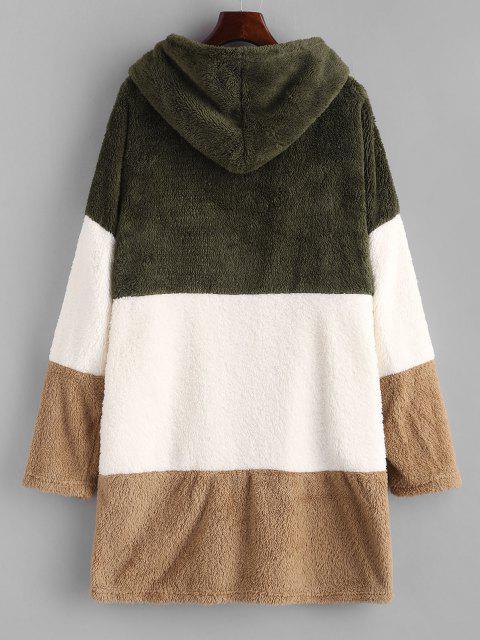 womens Hooded Color Blocking Fluffy Drop Shoulder Coat - MULTI L Mobile