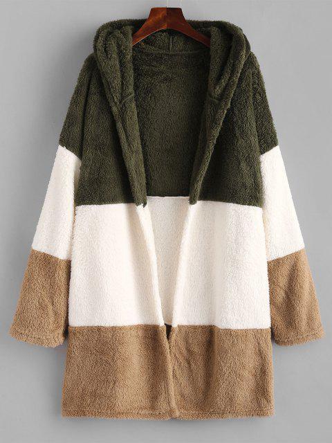 Manteau à Capuche Fourré en Blocs de Couleurs à Goutte Epaule - Multi S Mobile
