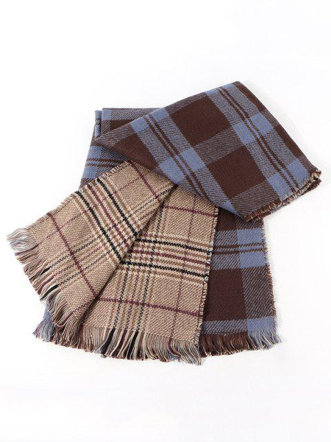women Reversible Plaid Pattern Fringe Scarf - MIDNIGHT  Mobile