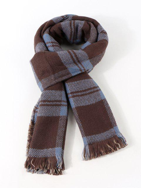 Reversible Plaid Pattern Fringe Scarf - منتصف الليل  Mobile