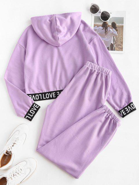 ladies Letter Tape Hooded Sports Joggers Set - PURPLE S Mobile