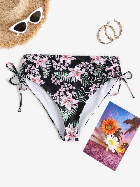 ZAFUL Bas de Bikini Fleuri à Lacets à Côté de Grande Taille - Noir XL Mobile
