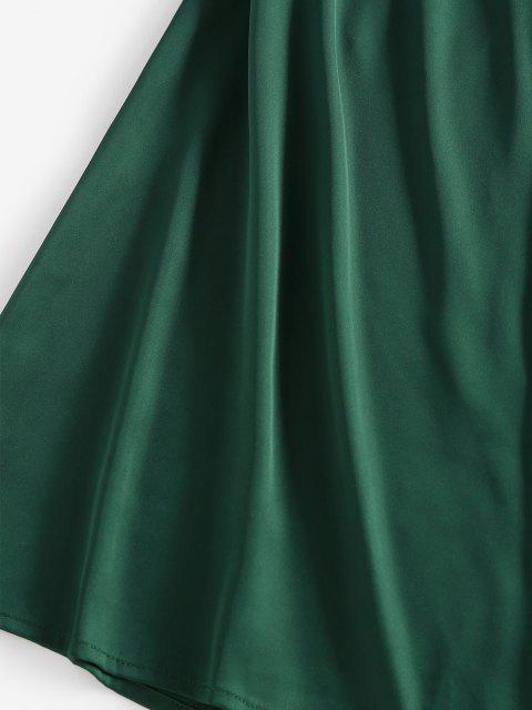 lady ZAFUL Back Tie Satin Cami Dress - DARK GREEN S Mobile