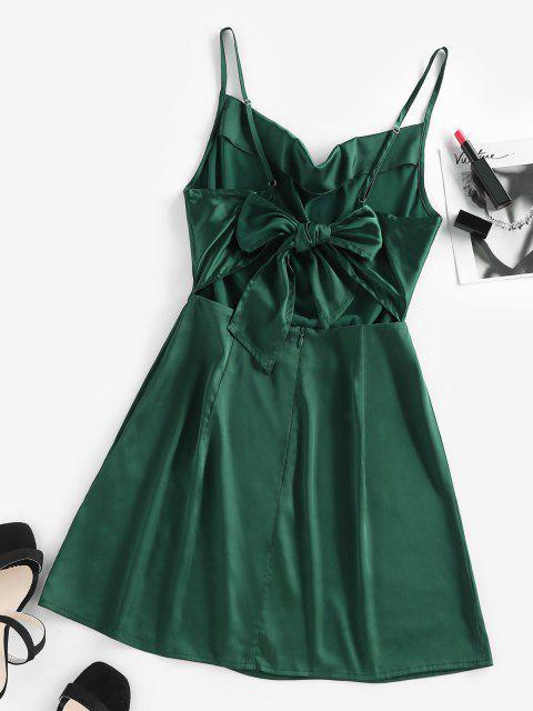online ZAFUL Back Tie Satin Cami Dress - DARK GREEN M Mobile