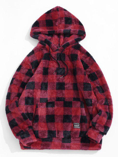 ZAFUL Kariertes Muster Flauschiges Hoodie - Rot L Mobile
