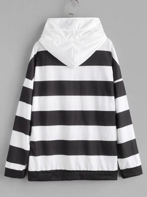 Two Tone Striped Drop Shoulder Hoodie - أبيض S Mobile