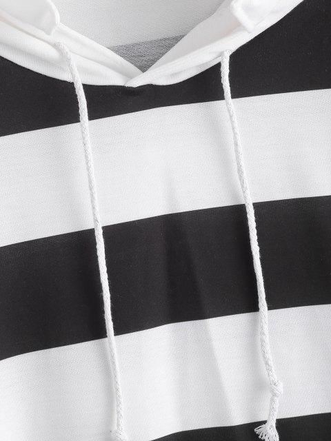 fashion Two Tone Striped Drop Shoulder Hoodie - WHITE M Mobile