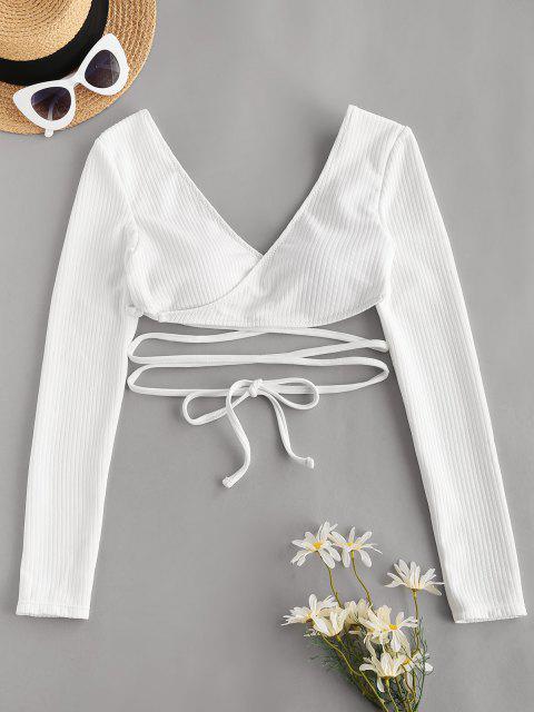 ZAFUL Tie-around Ribbed Wrap Swim Top - أبيض S Mobile