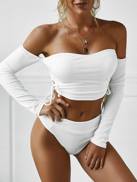 ZAFUL Cinched Off The Shoulder Ribbed Swim Top - أبيض S Mobile