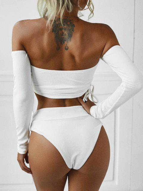 latest ZAFUL Cinched Off The Shoulder Ribbed Swim Top - WHITE M Mobile
