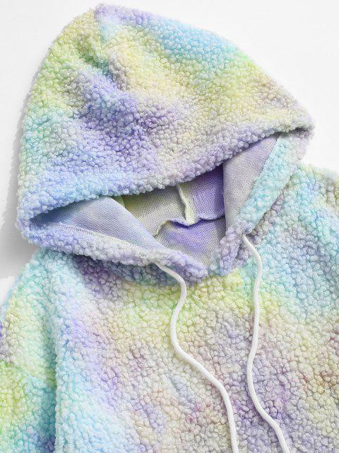 trendy Tie Dye Front Pocket Teddy Hoodie - LIGHT YELLOW XL Mobile