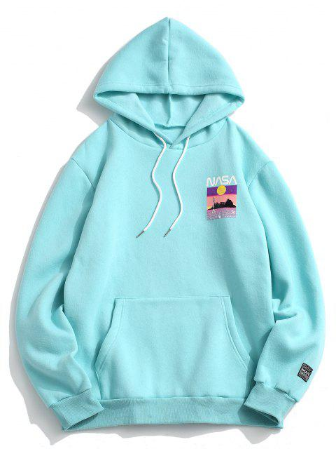 Cartoon Grafikdruck Känguru Taschen Vlies Hoodie - Heller Aquamarin XL Mobile