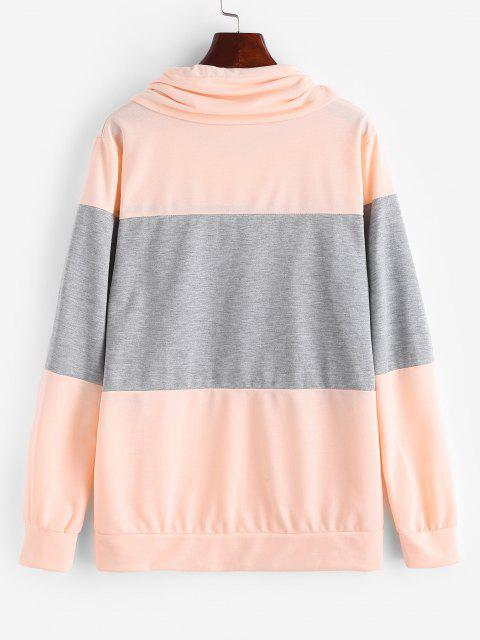 Two Tone Bicolor Cowl Front Pocket Sweatshirt - وردي فاتح XL Mobile
