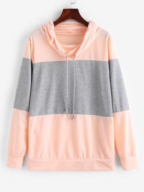 Sweat-shirt Bicolore avec Poche en Avant - Rose clair L Mobile