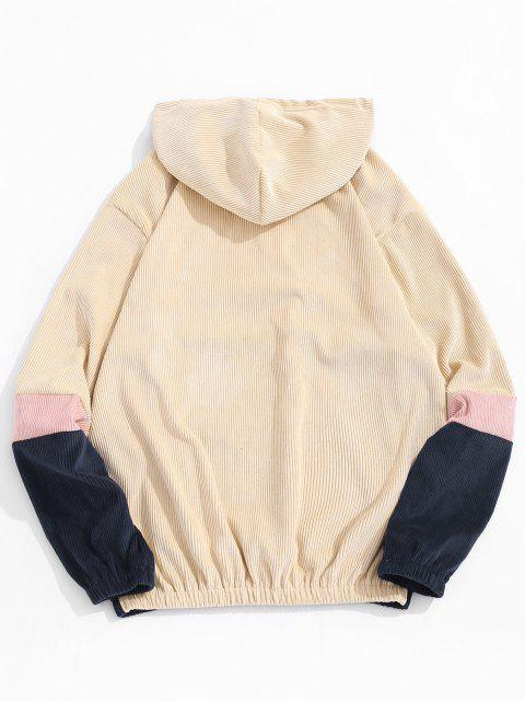 fashion Colorblock Panel Patchwork Corduroy Hoodie - LIGHT YELLOW S Mobile