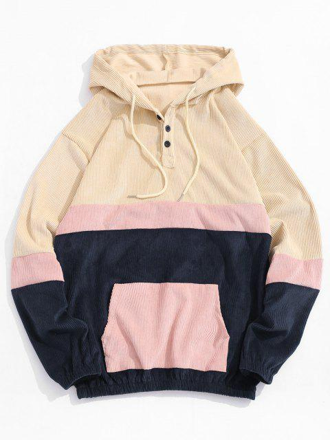 outfit Colorblock Panel Patchwork Corduroy Hoodie - LIGHT YELLOW M Mobile