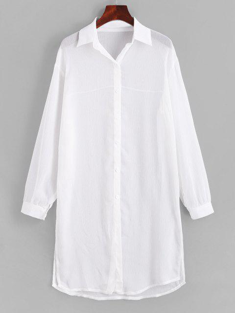 latest Side Slit Sheer Chiffon Cover Up Shirt - WHITE L Mobile