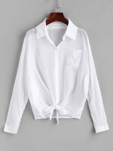 chic Button Down Tie Front Cover Up Shirt - WHITE L Mobile