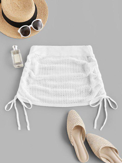 unique Side Cinched Crochet Ruched Beach Skirt - WHITE ONE SIZE Mobile