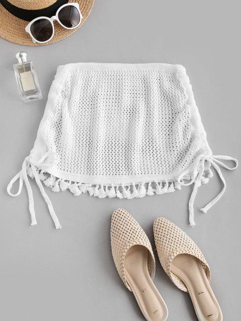 sale Side Cinched Tassels Crochet Beach Skirt - WHITE ONE SIZE Mobile