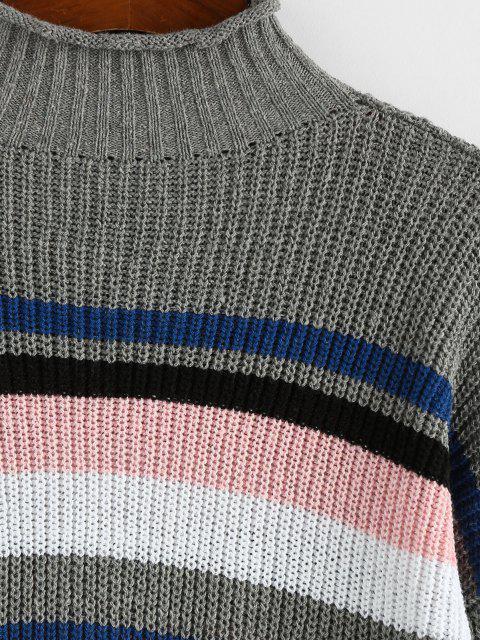 ZAFUL Streifen Hoher Hals Gerollte Trim Pullover - Grau L Mobile