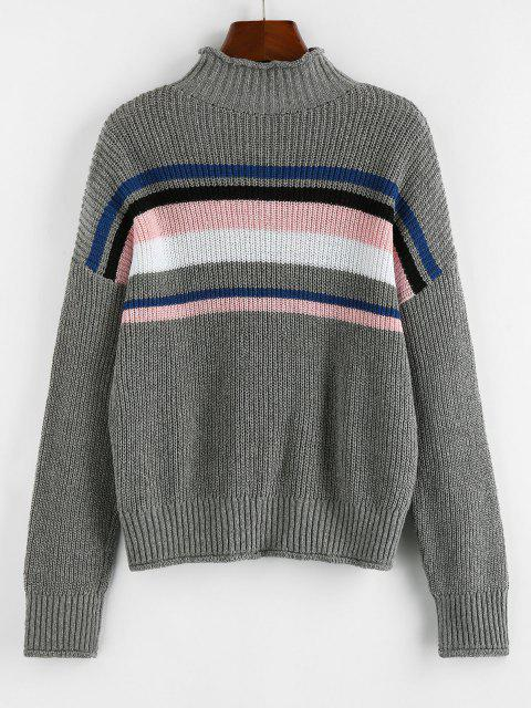chic ZAFUL Striped High Neck Rolled Trim Sweater - GRAY M Mobile
