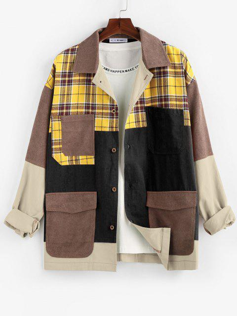 outfit ZAFUL Plaid Pocket Patchwork Colorblock Panel Shirt Jacket - MULTI-B S Mobile