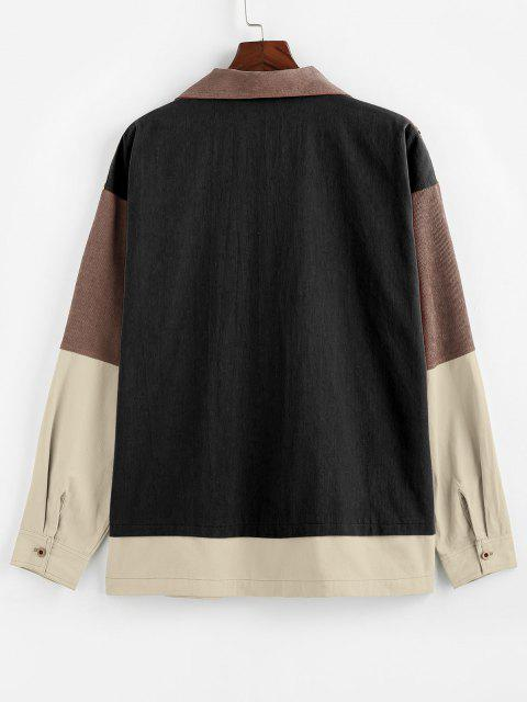 shops ZAFUL Plaid Pocket Patchwork Colorblock Panel Shirt Jacket - MULTI-B XL Mobile