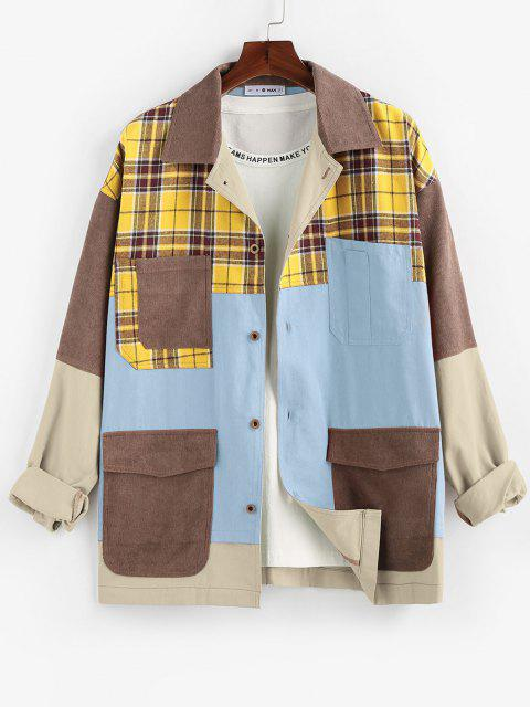 chic ZAFUL Plaid Pocket Patchwork Colorblock Panel Shirt Jacket - MULTI-C L Mobile