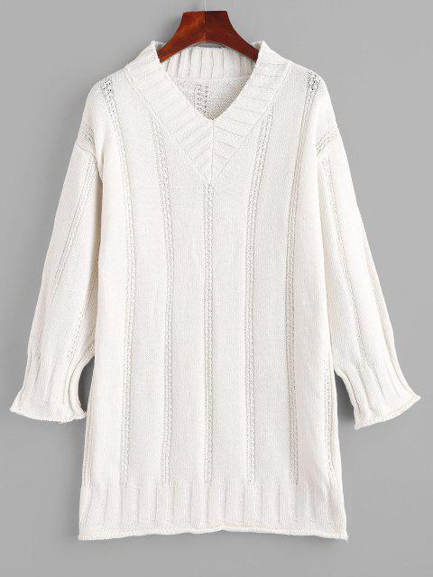latest Rolled Trim Pointelle Knit Tunic Drop Shoulder Sweater - WHITE ONE SIZE Mobile