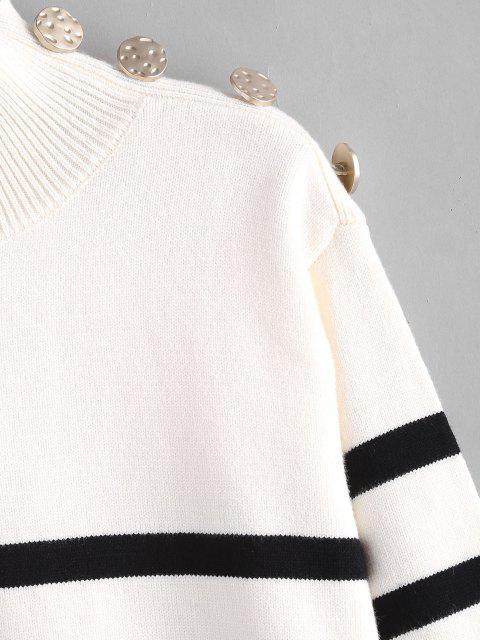 Gestreifter Hoher Kragen Hängender Schulter Pullover - Weiß S Mobile
