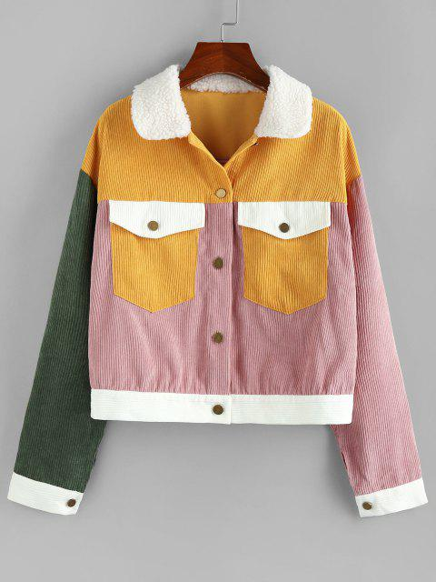 fancy ZAFUL Corduroy Colorblock Cargo Jacket - MULTI-A L Mobile