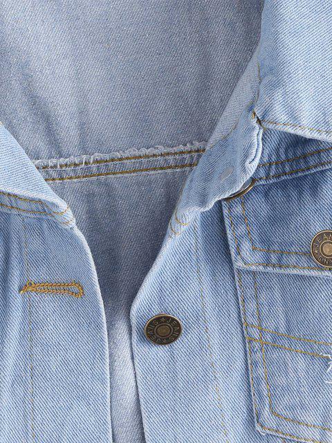 Ausgefranste Leichte Wäsche Zerrissene Denim Weste - Hellblau 2XL Mobile