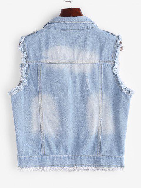 best Frayed Light Wash Ripped Denim Vest - LIGHT BLUE XL Mobile
