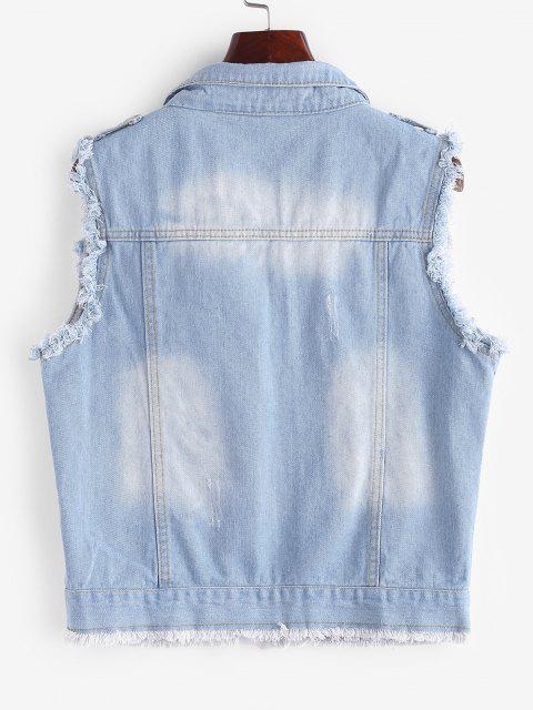 online Frayed Light Wash Ripped Denim Vest - LIGHT BLUE L Mobile