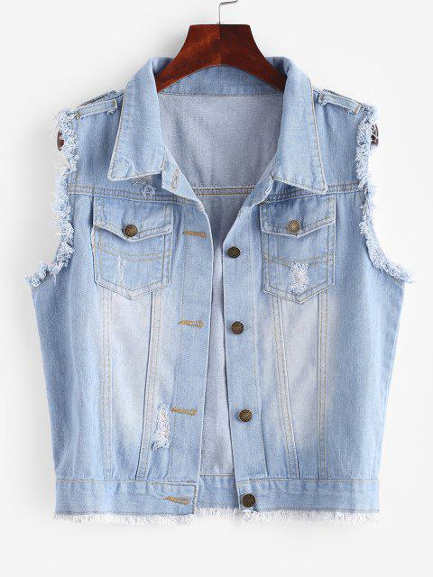 hot Frayed Light Wash Ripped Denim Vest - LIGHT BLUE S Mobile