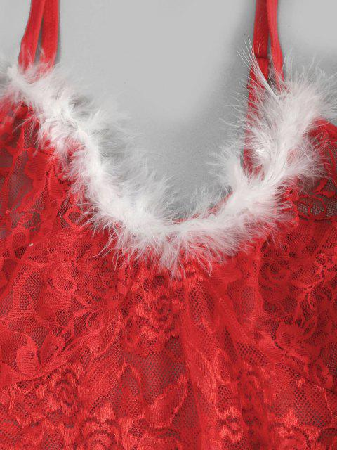 latest Christmas Lace Mesh Feather Sexy Lingerie Babydoll Set - RED L Mobile