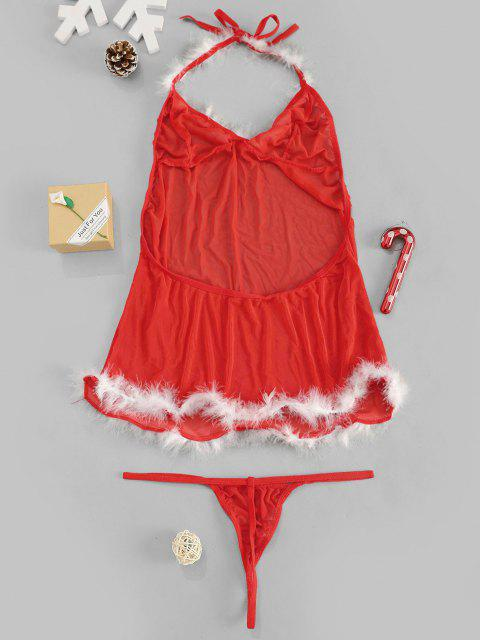 hot Christmas Mesh Sheer Sexy Feather Lingerie Set - RED M Mobile