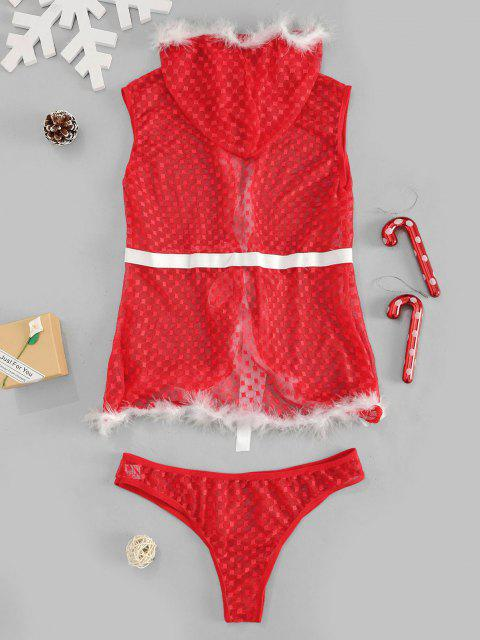 buy Christmas Lace Hooded Feather Sexy Lingerie Set - RED S Mobile