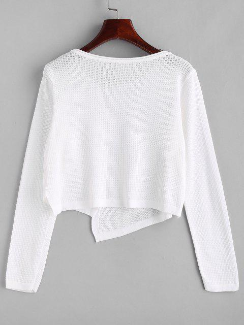 outfit Asymmetrical Rolled Trim Pointelle Knit Cardigan - WHITE ONE SIZE Mobile