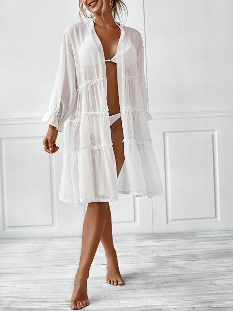 unique Poet Sleeve Sheer Kimono Cover Up - WHITE L Mobile