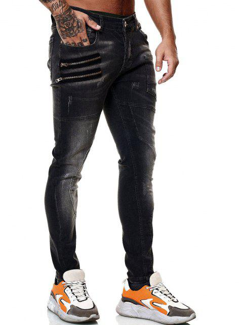 shop Zipper Patch Scratch Zip Fly Jeans - BLACK 38 Mobile