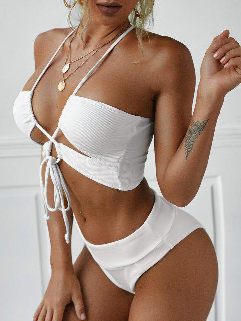 fancy ZAFUL Cutout Crisscross Self Tie Ribbed Swim Top - WHITE S Mobile