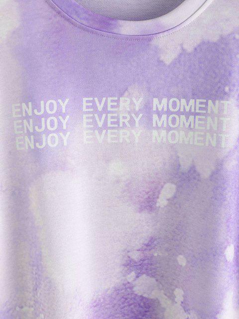 Sudadera de Tie-dye con Estampado de Letras - Color de malva S Mobile